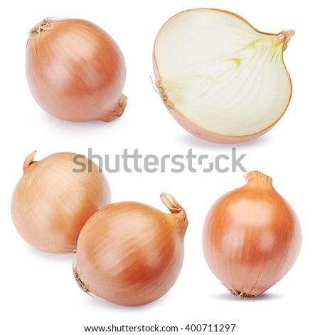 Fresh onion bulbs set isolated on white background. Clipping Path