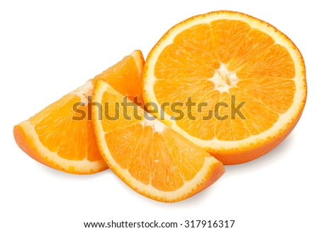 fresh orange and slices isolate on white background