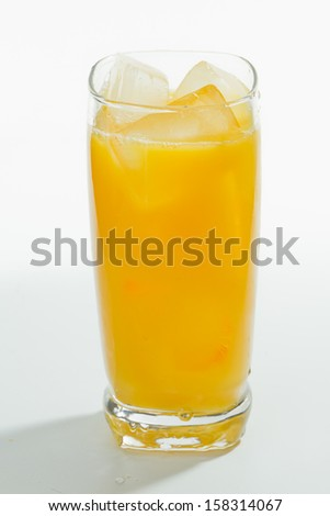 Fresh orange juice served in a tall glass with ice isolated on a white background