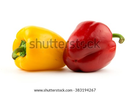 Fresh peppers isolated on white background / clipping objects for store and market / studio close up summer red and yellow pepper / seamless texture object / diet food
