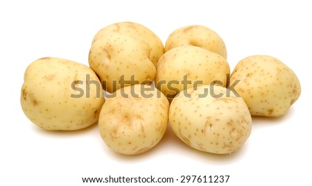 fresh potatoes close up on white background