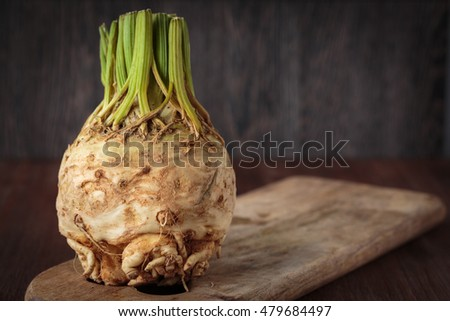Fresh raw celeriac for an healthy nutrition