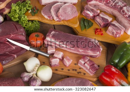 Fresh raw pork and meat