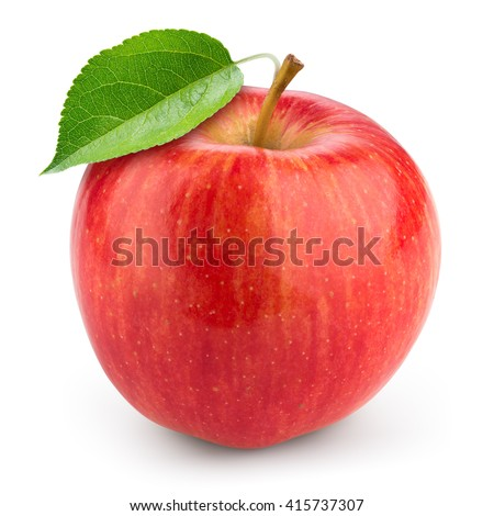 Fresh red apple with leaf isolated on white.
