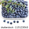 fresh ripe  blueberry in plastic container box closeup macro  isolated over white background - stock photo