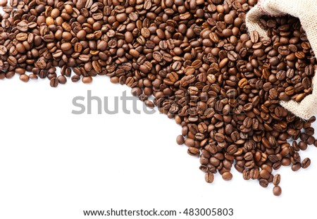 fresh roasted coffee beans isolated on white background