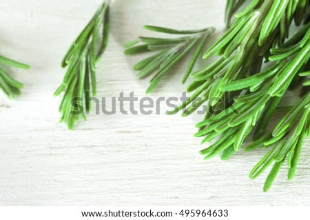 Fresh rosemary twigs on white wooden background.