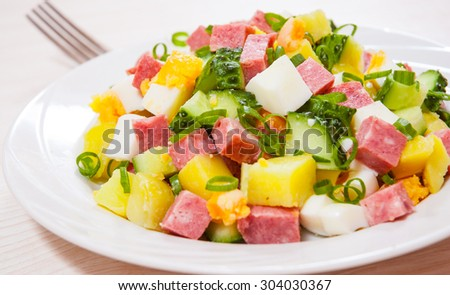 Fresh salad with potato, egg, salami, cucumber and green onion