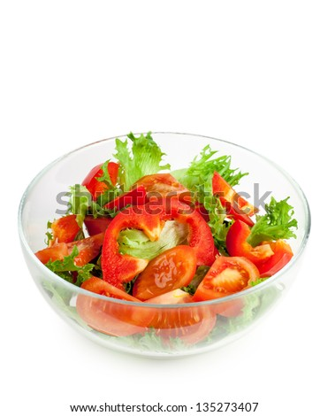 Fresh salad with tomato, cucumbers and peppers