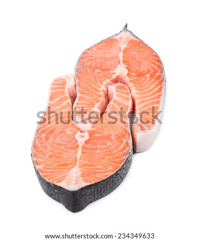 fresh salmon steak. Isolated on a white background.