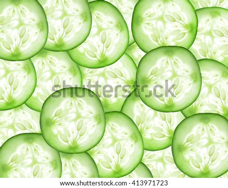 Fresh slice cucumber on background