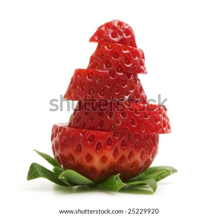 fresh slice strawberry on white background