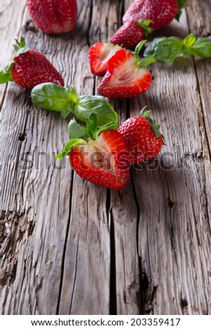 Fresh strawberry on wooden table. Berry - wood. Garden fruits. Organic