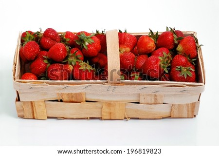 fresh sweet strawberries in basket, isolated on white