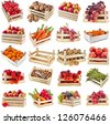 Fresh tasty fruits, vegetables, berries, nuts in a wooden crate box ,collection set  isolated on a white background - stock photo
