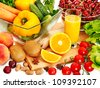 Fresh vegetable and fruit and glass of juice. - stock photo