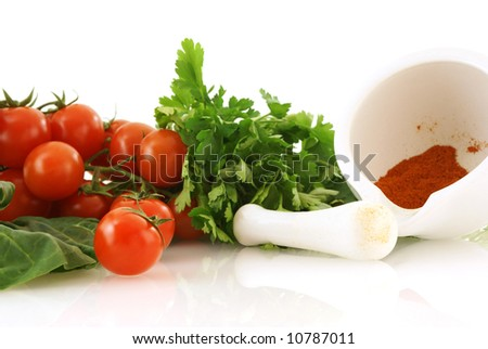fresh vegetables for healthy salad over white background