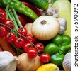 Fresh Vegetables, Fruits and other foodstuffs. Background. - stock photo