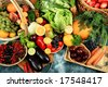 Fresh Vegetables, Fruits and other foodstuffs. Shot in a studio. - stock photo