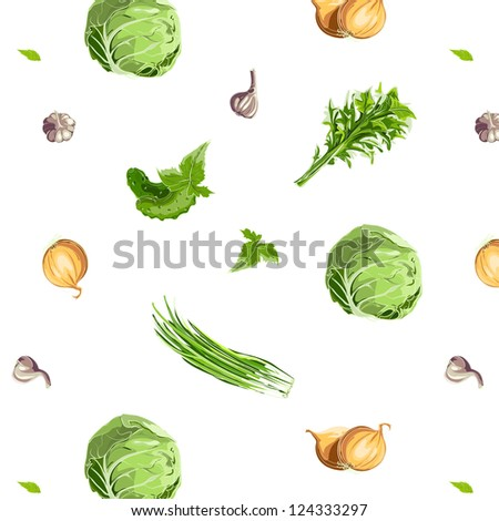 Fresh Vegetables Seamless Pattern. Raster variant.