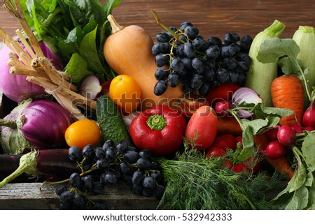 Fresh vegetables set, food ingredients