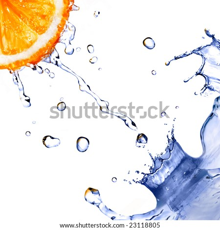 fresh water splash and drops on orange isolated on white