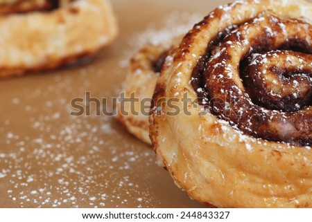 Freshly baked cinnamon rolls dusted with powdered sugar.  Macro with shallow dof.