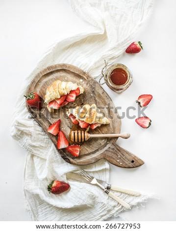 Strawberry Banana Crepe Chocolate Syrup Stock Photo ...