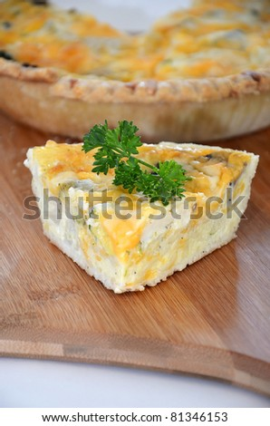 Freshly Baked Quiche/Quiche in the Morning/Slice of Quiche ready to be served