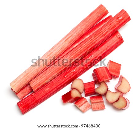 freshly cut stems of rhubarb on a white background