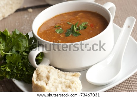 Freshly made tomato and three bean soup in a bowl