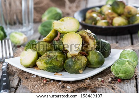 Brussels Sprouts With Fried Chicken Liver Recipe — Dishmaps