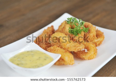 Fried Calamari Rings with Sauce Bowl