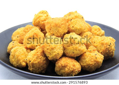 fried chicken balls on a white background
