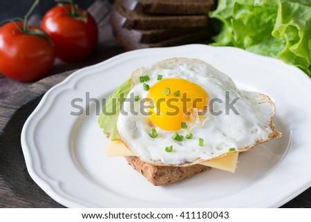Fried Egg Avocado Cheese On Whole Stock Photo 411180211 ...