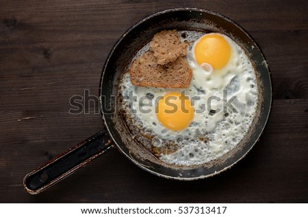 fried egg on an old pan