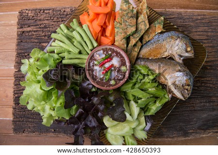 Fried mackerel with shrimp paste sauce and vegetable set. Thai food
