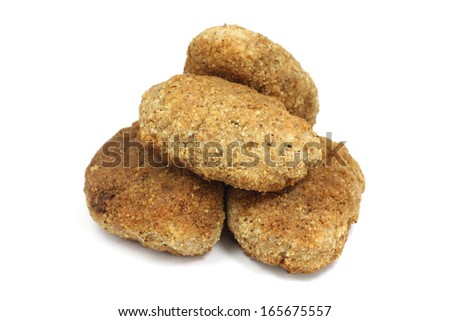 fried meat patties on a white background