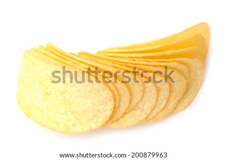 fried potato chips on white