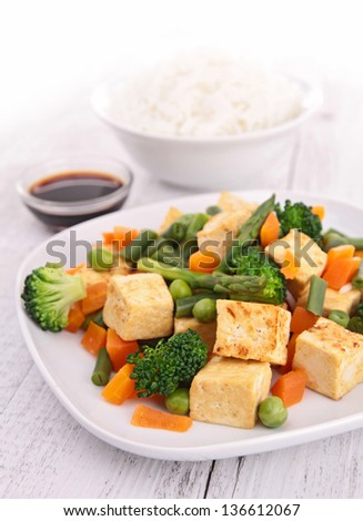 fried tofu and vegeatbles