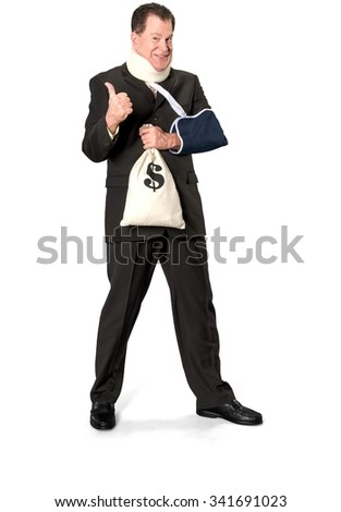 Friendly Caucasian elderly man with short medium brown hair in business formal outfit holding money bag - Isolated
