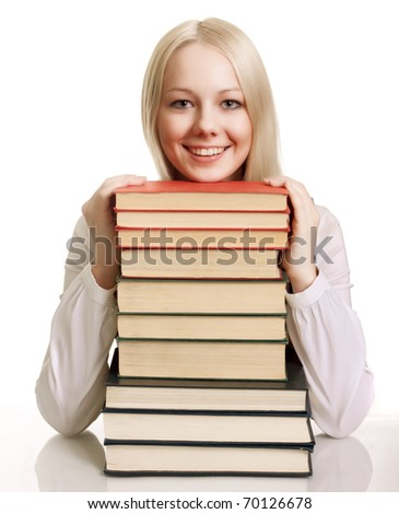 Friendly College student with books