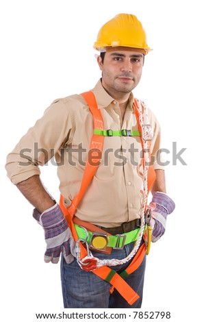 Friendly construction worker - over a white background