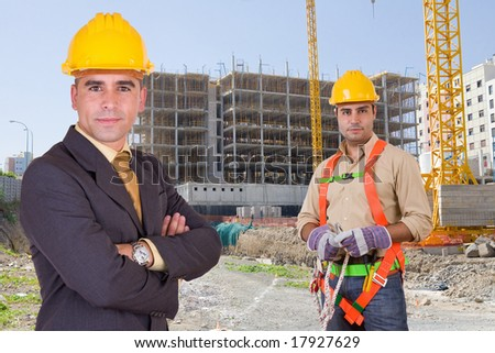 Friendly construction workers
