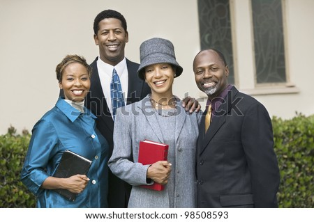 Friendly Couples Going to Church on Sunday