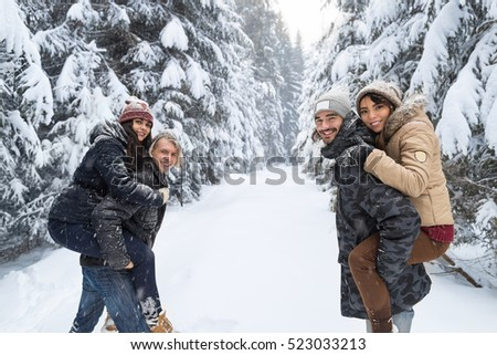 Friends Group Two Playful Couple Snow Forest Young People Outdoor Winter Pine Woods