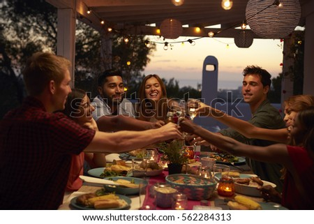 Friends Eat Talk Dinner Party On Stock Photo 562283908 ...