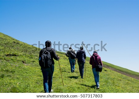Friends taking an excursion on a mountain