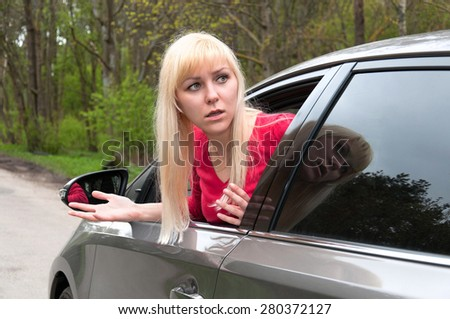 frightened girl in the car