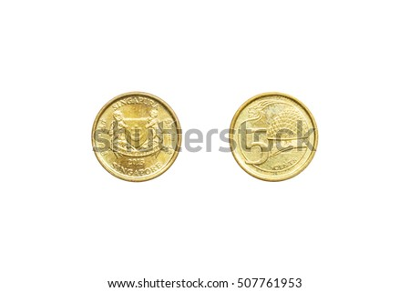 Front and back of Singapore coin 5 cent with clipping path.
